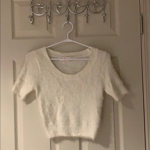 American Apparel Cream Fuzzy Crop Top